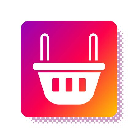 White Shopping basket icon isolated on white background. Food store, supermarket. Square color button. Vector Illustration Иллюстрация