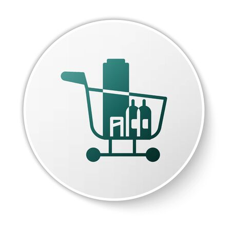 Green Shopping cart and food icon isolated on white background. Food store, supermarket. White circle button. Vector Illustration Иллюстрация