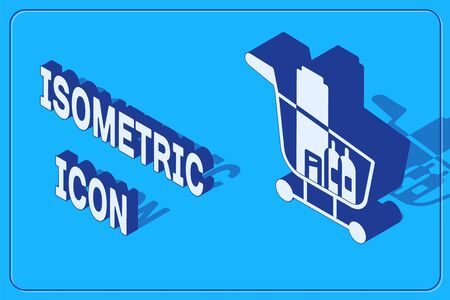 Isometric Shopping cart and food icon isolated on blue background. Food store, supermarket. Vector Illustration