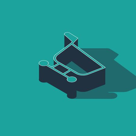 Isometric Shopping cart icon isolated on green background. Food store, supermarket.  Vector Illustration