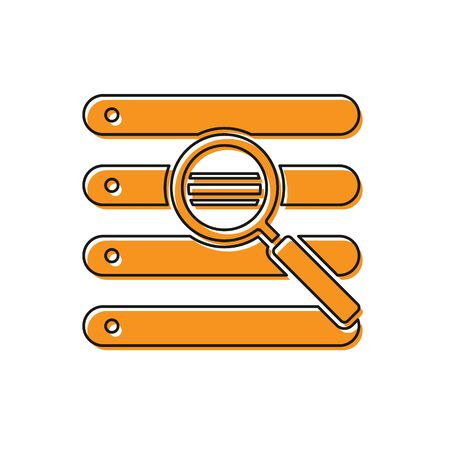 Orange Search in a browser window icon isolated on white background. Vector Illustration