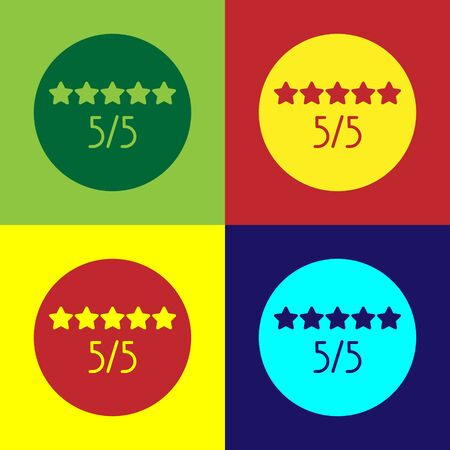 Pop art Consumer or customer product rating icon isolated on color background. Vector Illustration