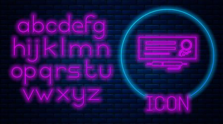 Glowing neon Blank template of the bank check and pen icon isolated on brick wall background. Checkbook cheque page with empty fields to fill. Neon light alphabet. Vector Illustration