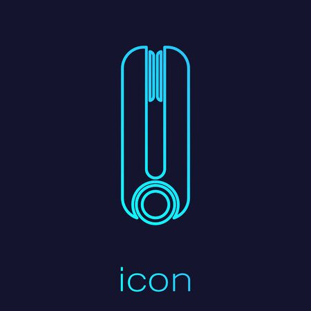 Turquoise line Curling iron for hair icon isolated on blue background. Hair straightener icon. Vector Illustration