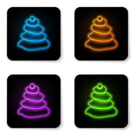 Glowing neon Stack hot stones icon isolated on white background. Spa salon accessory. Black square button. Vector Illustration