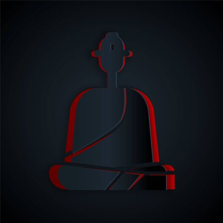 Paper cut Buddhist monk in robes sitting in meditation icon isolated on black background. Paper art style. Vector Illustration
