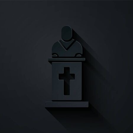 Paper cut Church pastor preaching icon isolated on black background. Paper art style. Vector Illustration