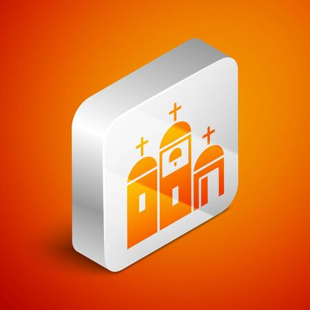 Isometric Church building icon isolated on orange background. Christian Church. Religion of church. Silver square button. Vector Illustration