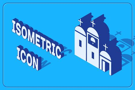 Isometric Church building icon isolated on blue background. Christian Church. Religion of church. Vector Illustration