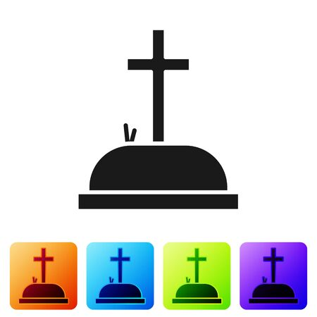 Black Tombstone with cross icon isolated on white background. Grave icon. Set icons in color square buttons. Vector Illustration