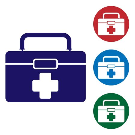 Blue First aid kit icon isolated on white background. Medical box with cross. Medical equipment for emergency. Healthcare concept. Set icons in color square buttons. Vector Illustration