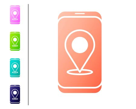 Coral Infographic of city map navigation icon isolated on white background. Mobile App Interface concept design. Geolacation concept. Set color icons. Vector Illustration