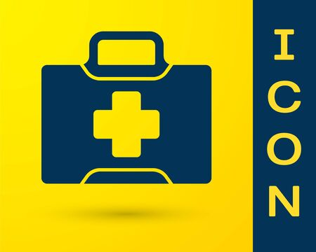 Blue First aid kit icon isolated on yellow background. Medical box with cross. Medical equipment for emergency. Healthcare concept.  Vector Illustration