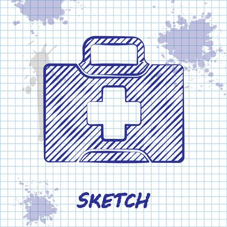 Sketch line First aid kit icon isolated on white background. Medical box with cross. Medical equipment for emergency. Healthcare concept. Vector Illustration Ilustracja