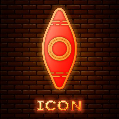 Glowing neon Kayak and paddle icon isolated on brick wall background. Kayak and canoe for fishing and tourism. Outdoor activities. Vector Illustration