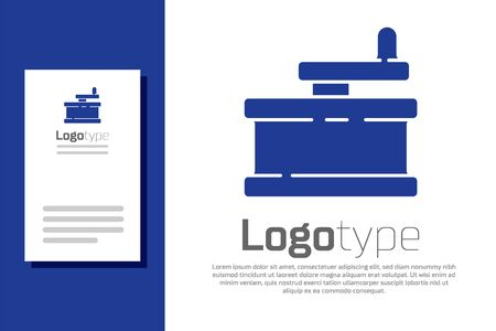 Blue Manual grinder icon isolated on white background.   design template element. Vector Illustration Ilustracja
