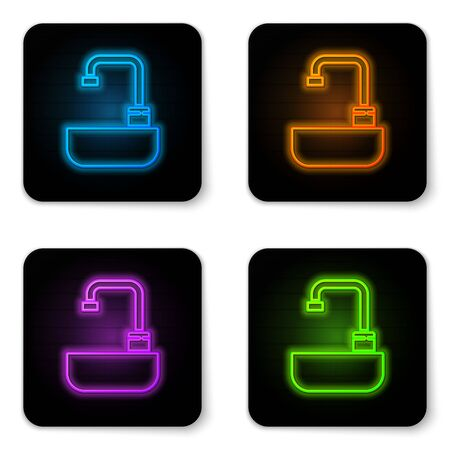 Glowing neon Washbasin with water tap icon isolated on white background. Black square button. Vector Illustration  イラスト・ベクター素材