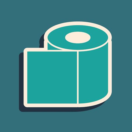 Green Toilet paper roll icon isolated on green background. Long shadow style. Vector Illustration