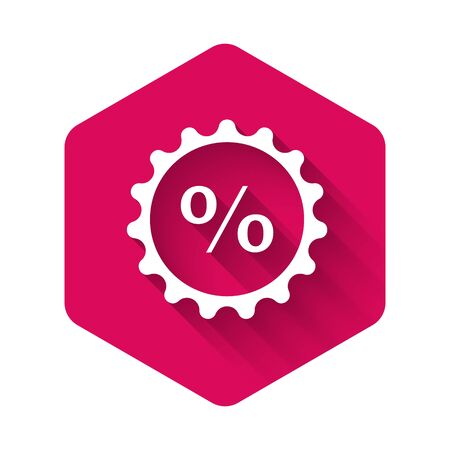 White Discount percent tag icon isolated with long shadow. Shopping tag sign. Special offer sign. Discount coupons symbol. Pink hexagon button. Vector Illustration 向量圖像