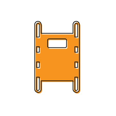 Orange Stretcher icon isolated on white background. Patient hospital medical stretcher.  Vector Illustration