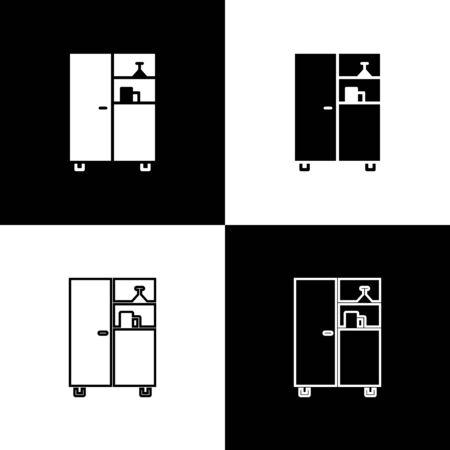 Set Medicine cabinet icon isolated on black and white background. Vector Illustration Ilustracja