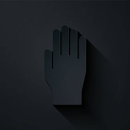 Paper cut Medical rubber gloves icon isolated on black background. Protective rubber gloves. Paper art style. Vector Illustration