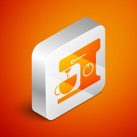 Isometric Electric mixer icon isolated on orange background. Kitchen blender. Silver square button. Vector Illustration