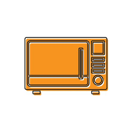 Orange Microwave oven icon isolated on white background. Home appliances icon. Vector Illustration