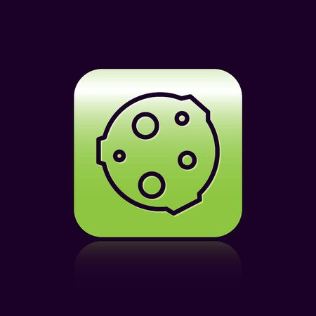 Black line Moon icon isolated on black background. Green square button. Vector Illustration