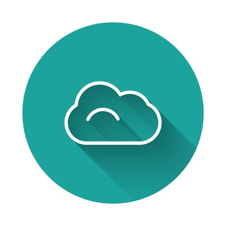 White line Cloud icon isolated with long shadow. Green circle button. Vector Illustration