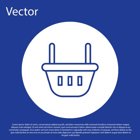 Blue line Shopping basket icon isolated on blue background. Food store, supermarket. White circle button. Vector Illustration