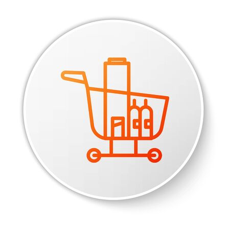 Orange line Shopping cart and food icon isolated on white background. Food store, supermarket. White circle button. Vector Illustration