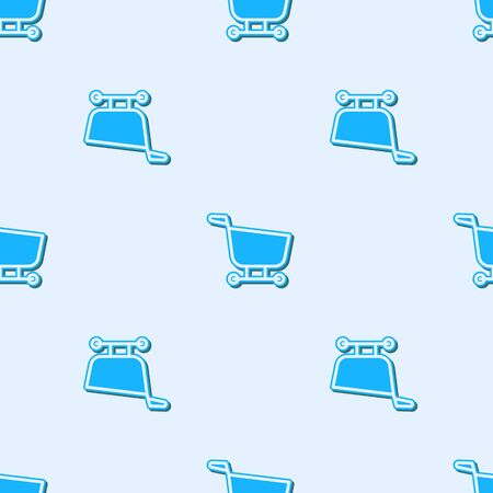 Blue line Shopping cart icon isolated seamless pattern on grey background. Food store, supermarket. Vector Illustration