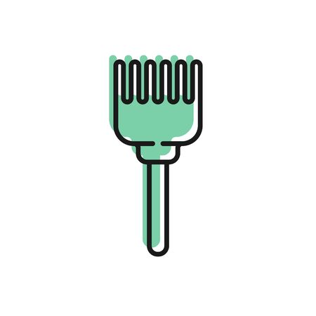 Black line Hairbrush icon isolated on white background. Comb hair sign. Barber symbol. Vector Illustration