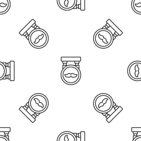 Grey line Barbershop icon isolated seamless pattern on white background.