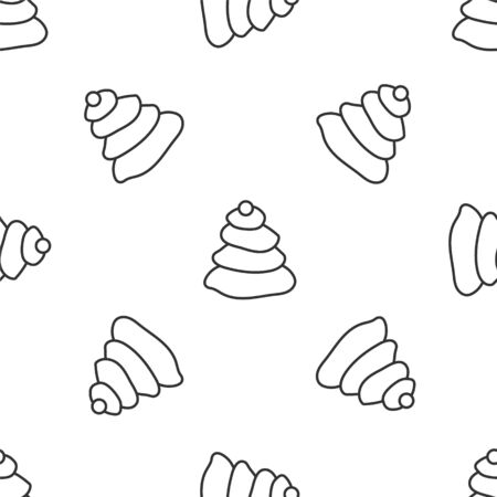 Grey line Stack hot stones icon isolated seamless pattern on white background. Spa salon accessory. Vector Illustration