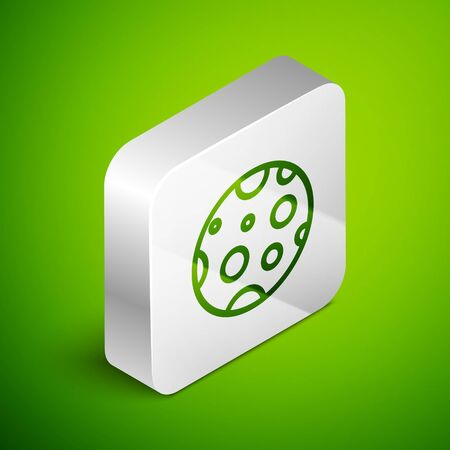 Isometric line Moon icon isolated on green background. Silver square button. Vector Illustration 向量圖像