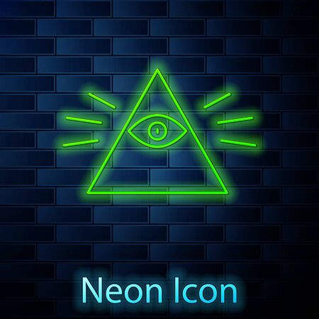 Glowing neon line Masons symbol All-seeing eye of God icon isolated on brick wall background. The eye of Providence in the triangle. Vector Illustration