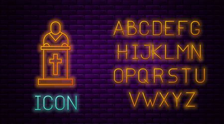 Glowing neon line Church pastor preaching icon isolated on brick wall background. Neon light alphabet. Vector Illustration