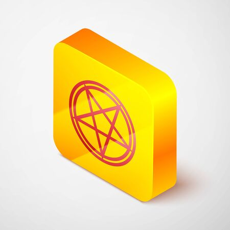 Isometric line Pentagram in a circle icon isolated on grey background. Magic occult star symbol. Yellow square button. Vector Illustration