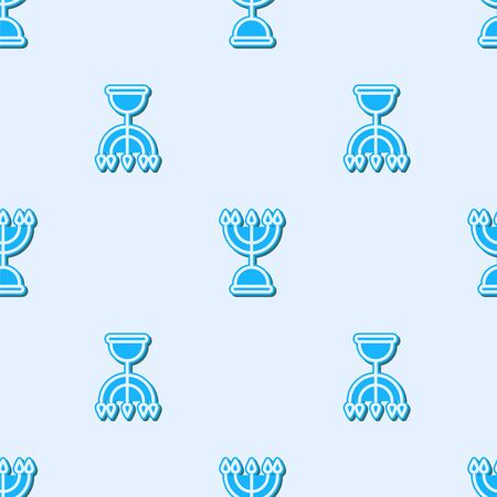 Blue line Hanukkah menorah icon isolated seamless pattern on grey background. Hanukkah traditional symbol. Holiday religion, jewish festival of Lights. Vector Illustration