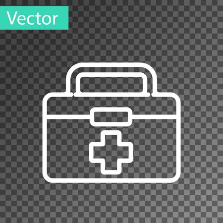 White line First aid kit icon isolated on transparent background. Medical box with cross. Medical equipment for emergency. Healthcare concept. Vector Illustration