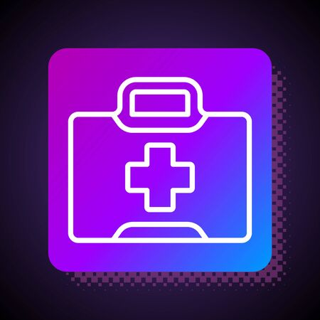 White line First aid kit icon isolated on black background. Medical box with cross. Medical equipment for emergency. Healthcare concept. Square color button. Vector Illustration