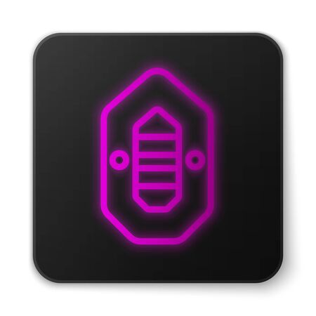 Glowing neon line Rafting boat icon isolated on white background. Inflatable boat. Water sports, extreme sports, holiday, vacation. Black square button. Vector Illustration