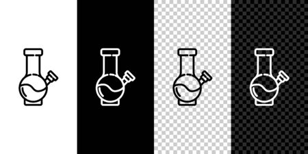 Set line Glass bong for smoking marijuana or cannabis icon isolated on black and white background. Vector Illustration