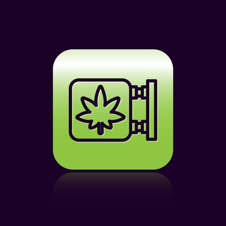 Black line Marijuana and cannabis store icon isolated on black background. Equipment and accessories for smoking, storing medical cannabis. Green square button. Vector Illustration