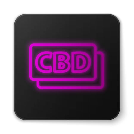 Glowing neon line Cannabis molecule icon isolated on white background. Cannabidiol molecular structures, THC and CBD formula. Marijuana sign. Black square button. Vector Illustration