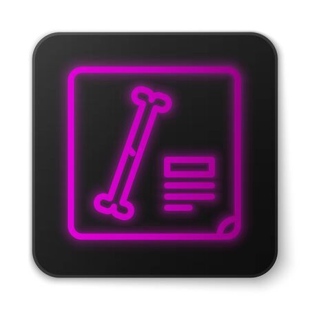 Glowing neon line X-ray shots icon isolated on white background. Black square button. Vector Illustration