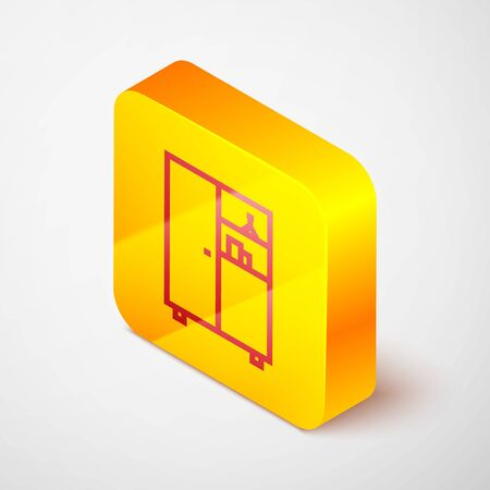 Isometric line Medicine cabinet icon isolated on grey background. Yellow square button. Vector Illustration