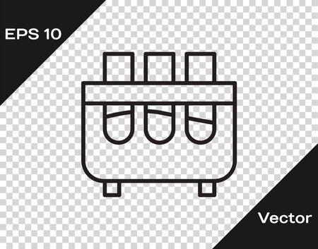 Black line Test tube and flask chemical laboratory test icon isolated on transparent background. Laboratory glassware sign. Vector Illustration